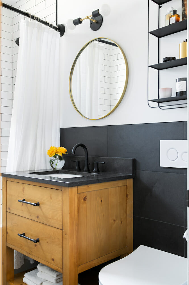 black bathroom backsplash