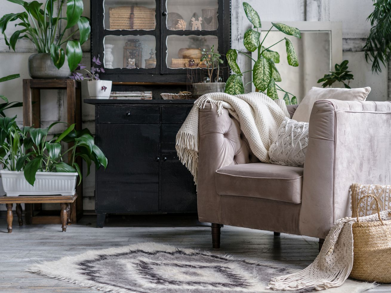 A living room filled with houseplants and a cozy chair.