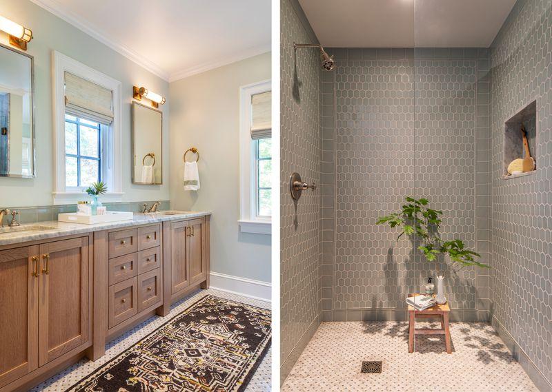 Fall 2021 House Tour, Tudor Revival bathroom and shower