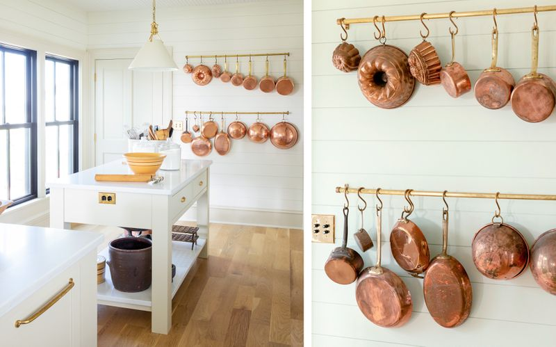 Fall 2021 Before & After Kitchen, kitchen island, pot hooks