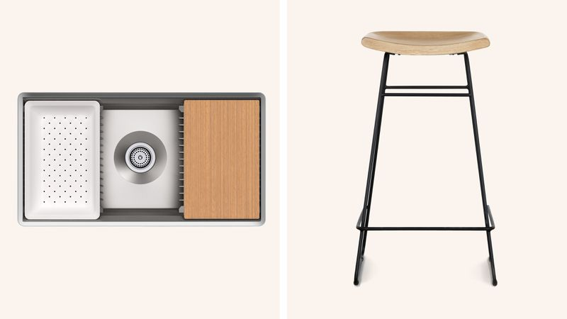 Fall 2021 Before & After Kitchen, sink, counter stool