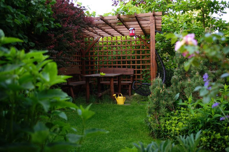 A stained wooden pergola sits in the corner of a lush garden.