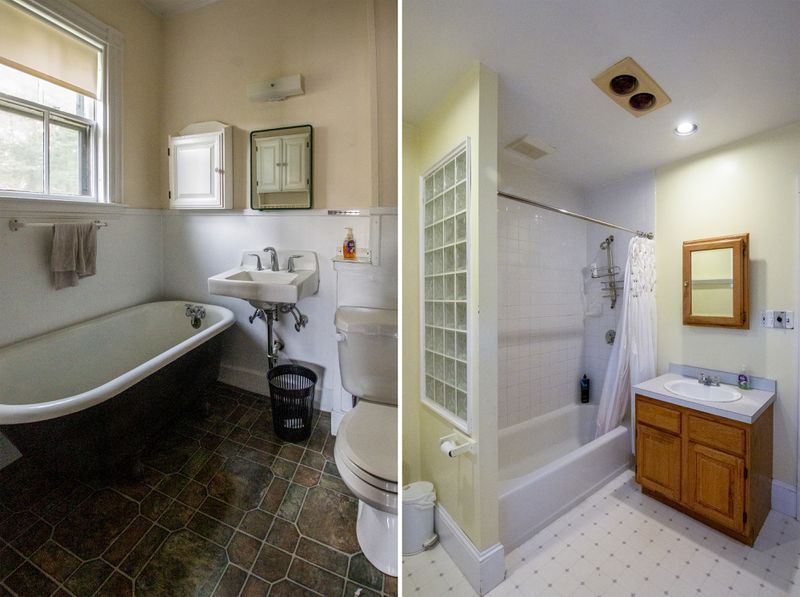 The bathrooms before renovation at the West Roxbury Project house